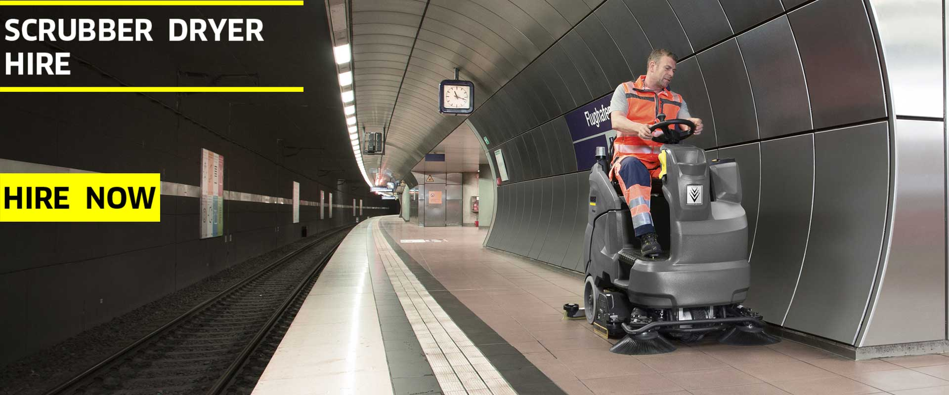 Scrubber dryer cleaning a railway station