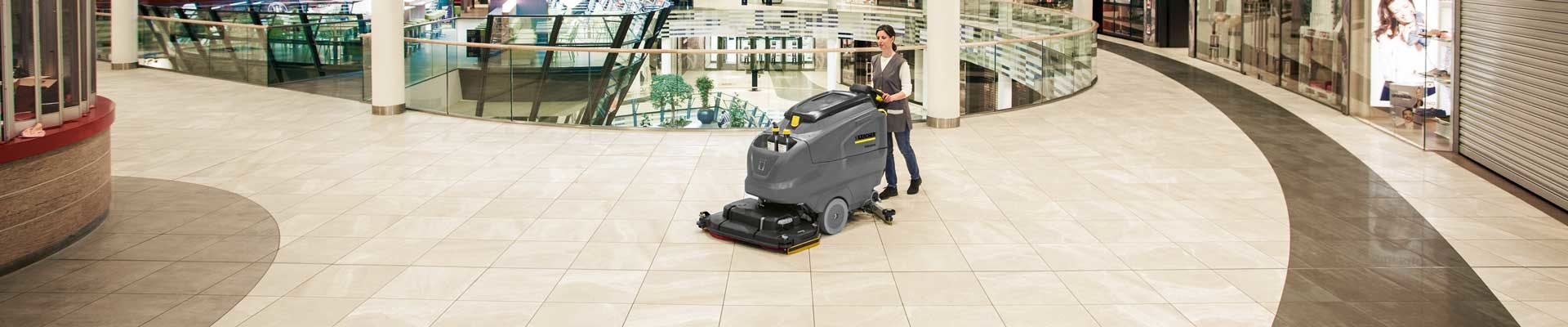 Floor scrubber in shopping mall