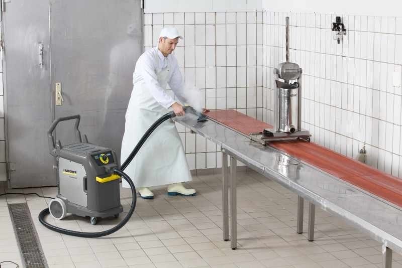 Steam cleaning a butchers