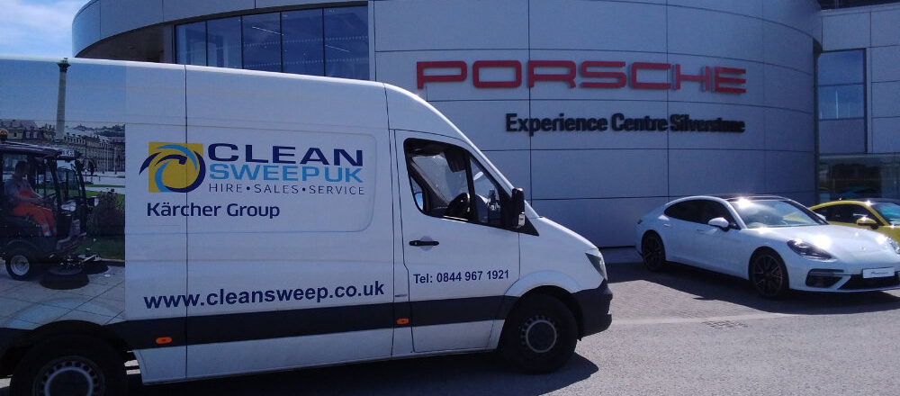 Clean Sweep van at the Porsche Experience Centre